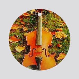 romantic fall leaves violin Round Ornament