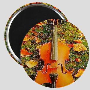 romantic fall leaves violin Magnet