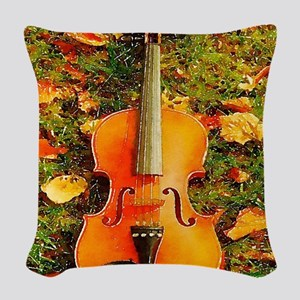 romantic fall leaves violin Woven Throw Pillow