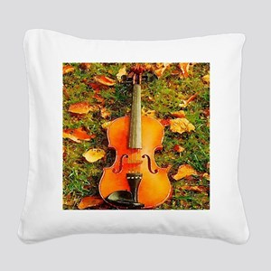 romantic fall leaves violin Square Canvas Pillow
