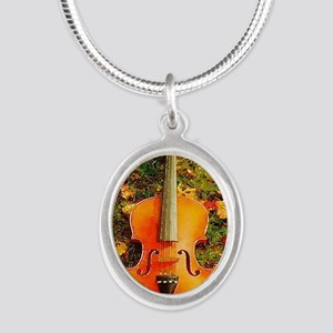 romantic fall leaves violin Silver Oval Necklace
