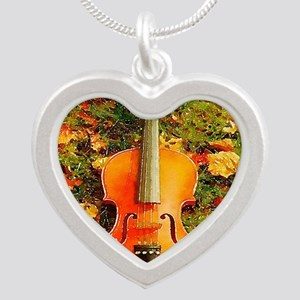 romantic fall leaves violin Silver Heart Necklace