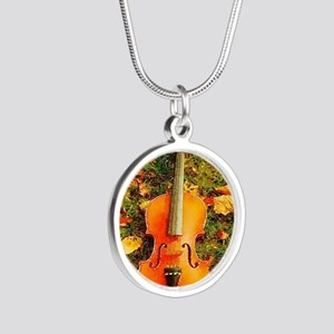 romantic fall leaves violin Silver Round Necklace