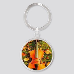 romantic fall leaves violin Round Keychain