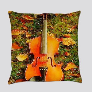 romantic fall leaves violin Everyday Pillow