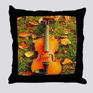 romantic fall leaves violin Throw Pillow