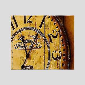 rustic barn wood vintage clock Throw Blanket