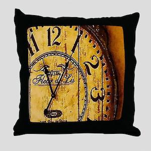 rustic barn wood vintage clock Throw Pillow
