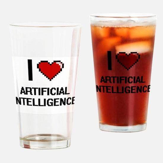 I Love Artificial Intelligence Digi Drinking Glass