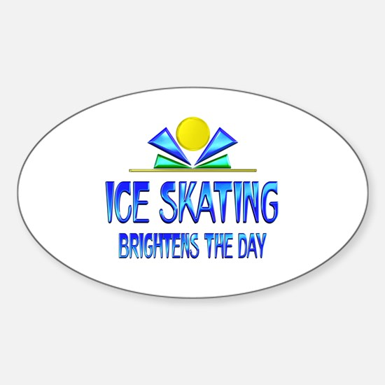 Ice Skating Brightens the Day Sticker (Oval)