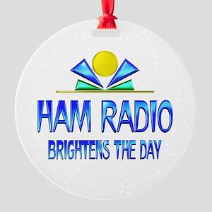 Ham Radio Brightens the Day Round Ornament