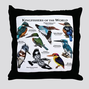 Kingfishers of the World Throw Pillow