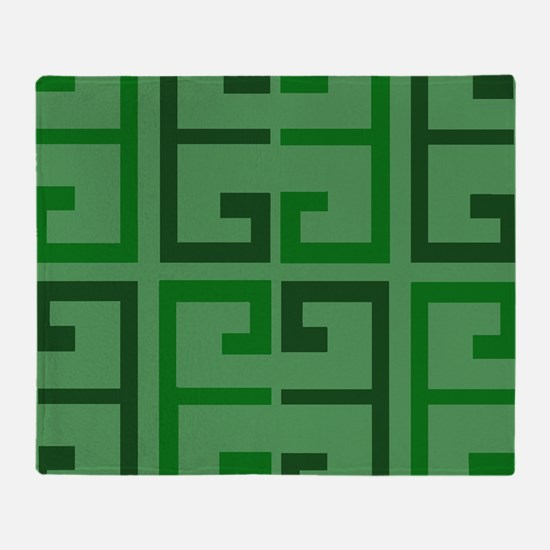 Two Toned Green Tile Throw Blanket