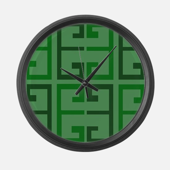 Two Toned Green Tile Large Wall Clock