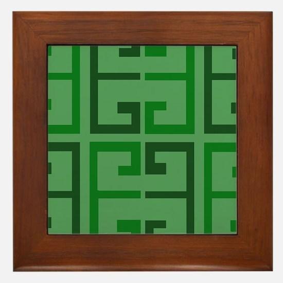 Two Toned Green Tile Framed Tile