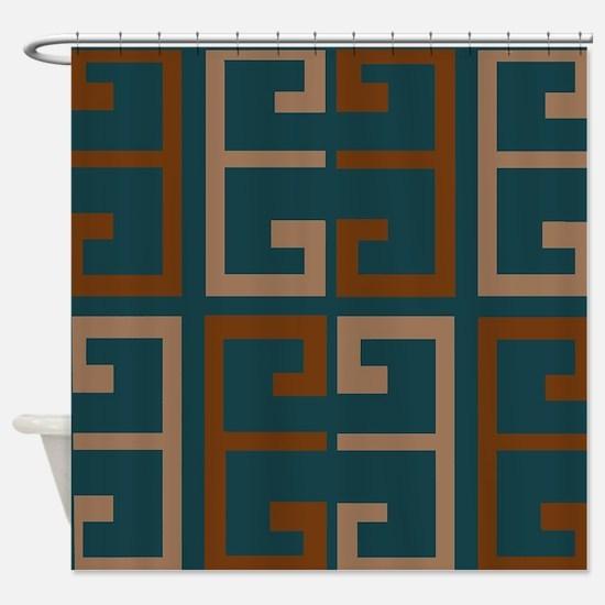 Earthy Blue Aztec Tile Shower Curtain