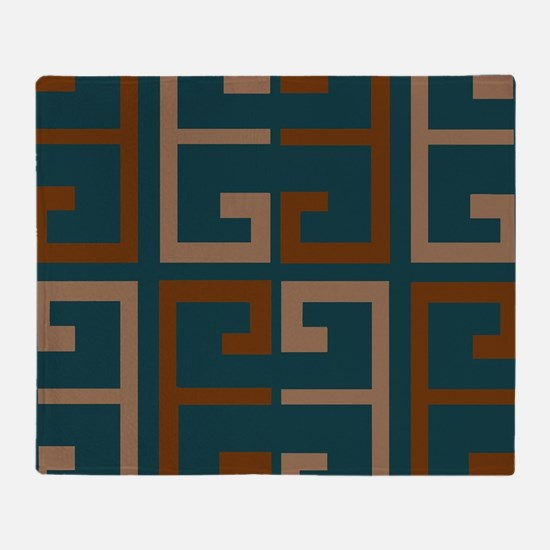Earthy Blue Aztec Tile Throw Blanket