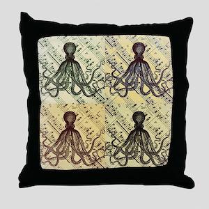 vintage nautical steampunk octopus Throw Pillow