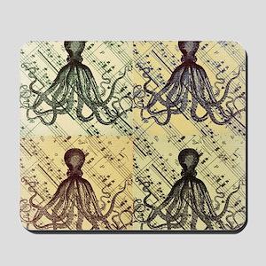 vintage nautical steampunk octopus Mousepad