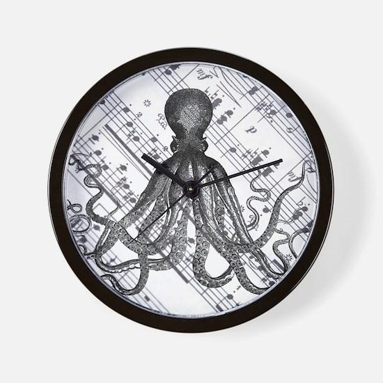 vintage nautical steampunk octopus Wall Clock