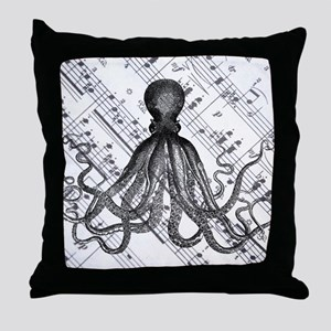 vintage nautical steampunk octopus Throw Pillow