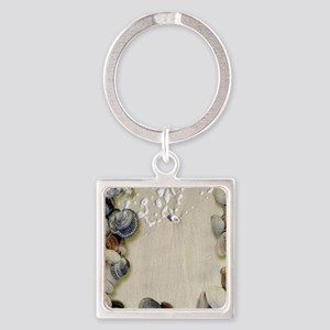summer ocean beach seashells Square Keychain