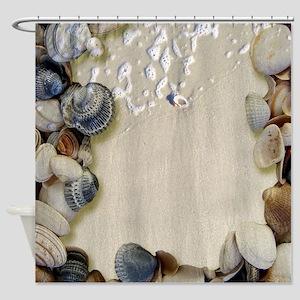 summer ocean beach seashells Shower Curtain