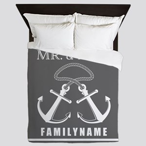 Double Anchor Rope Mr and Mrs Personalized Queen D