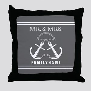 Double Anchor Rope Mr and Mrs Personalized Throw P