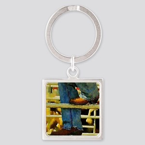 western country rodeo cowboy Square Keychain