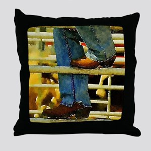 western country rodeo cowboy Throw Pillow