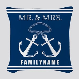 Navy and White Double Anchor R Woven Throw Pillow
