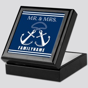 Navy and White Double Anchor Rope Mr Keepsake Box