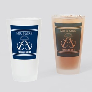 Navy and White Double Anchor Rope M Drinking Glass