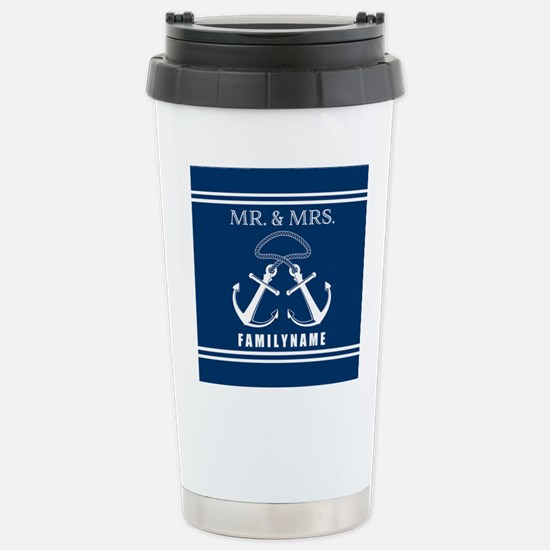 Navy and White Double A Stainless Steel Travel Mug