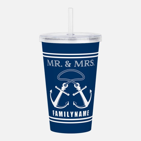 Navy and White Double Acrylic Double-wall Tumbler