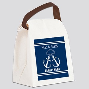 Navy and White Double Anchor Rope Canvas Lunch Bag