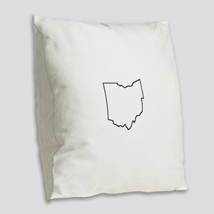 Ohio Outline Burlap Throw Pillow