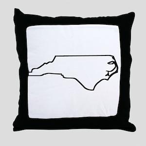 North Carolina Outline Throw Pillow
