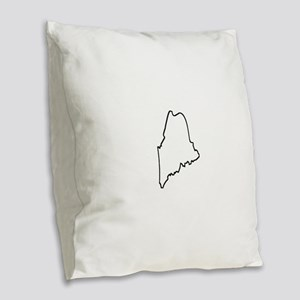 Maine Outline Burlap Throw Pillow
