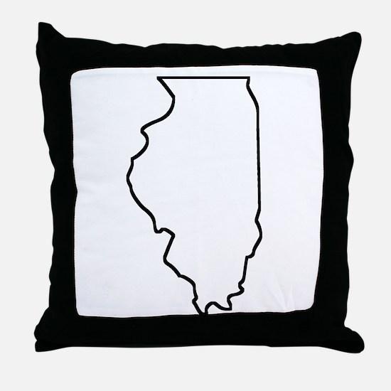 Illinois Outline Throw Pillow