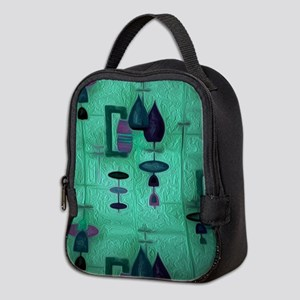 Atomic Age in Teal. Neoprene Lunch Bag