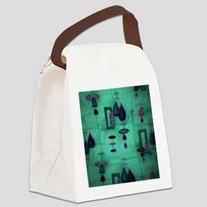 Atomic Age in Teal. Canvas Lunch Bag