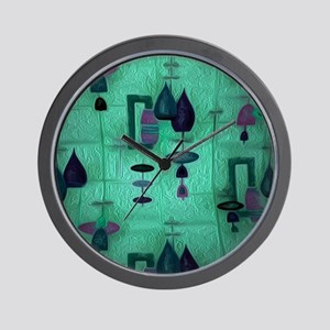 Atomic Age in Teal. Wall Clock