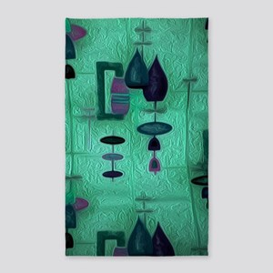Atomic Age in Teal. Area Rug