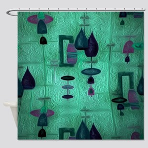 Atomic Age in Teal. Shower Curtain