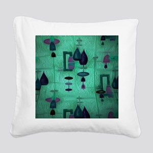 Atomic Age in Teal. Square Canvas Pillow