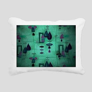 Atomic Age in Teal. Rectangular Canvas Pillow