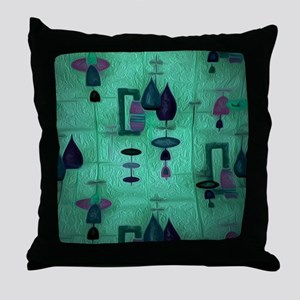 Atomic Age in Teal. Throw Pillow