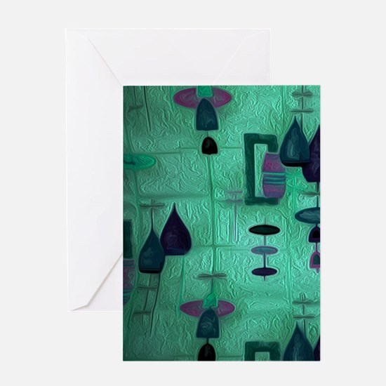 Atomic Age in Teal. Greeting Cards